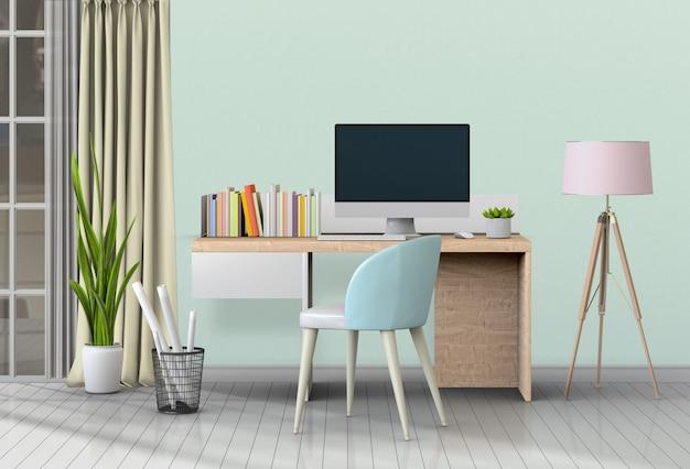 Nowoczesne miejsce do pracy w salonie z biurkiem i komputerem stacjonarnym Premium Psd