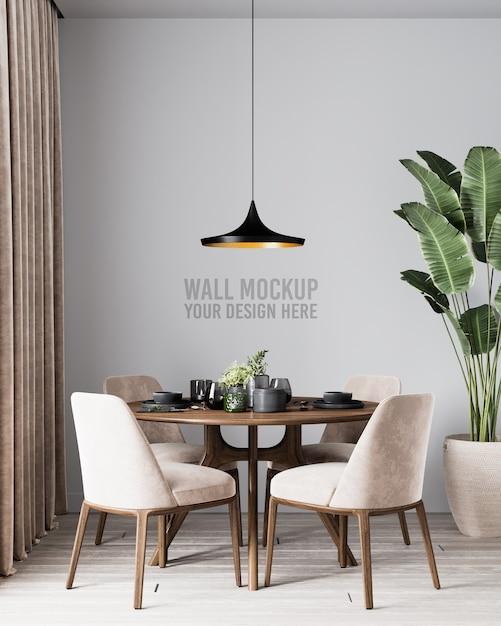 Nowoczesne Wnętrze Jadalni Makieta ścienna Z Brązowymi Krzesłami I Roślinami Premium Psd