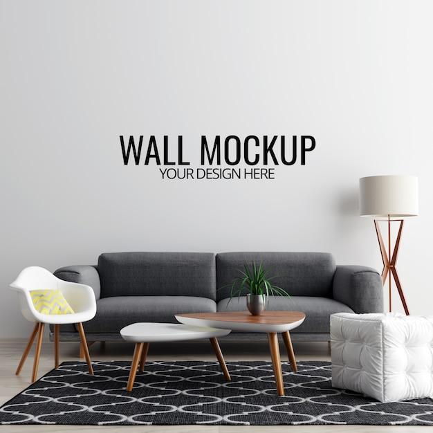 Nowoczesne wnętrze salonu ściany makieta tło Premium Psd