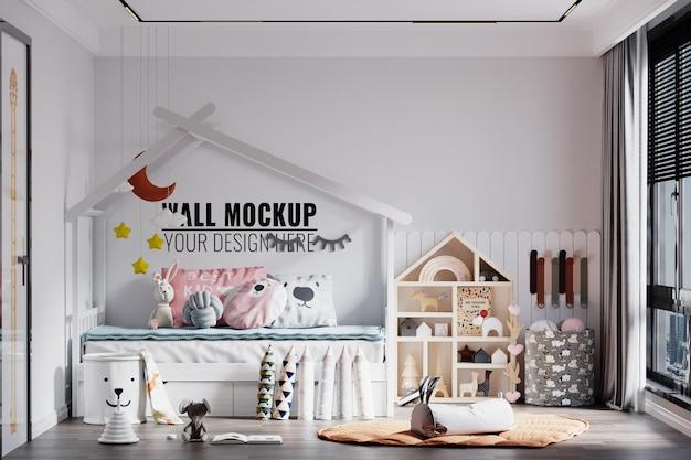 Nowoczesne Wnętrze Sypialni Dzieci Makieta ścienna Premium Psd