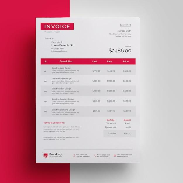 Nowoczesny Czerwony I Czarny Profesjonalny Szablon Faktury Premium Psd