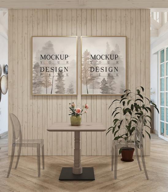 Nowoczesny Design Salonu Z Ramą Makiety Premium Psd