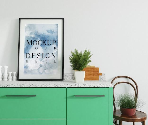 Nowoczesny Luksusowy Projekt Kuchni Z Plakatem Makiety Premium Psd