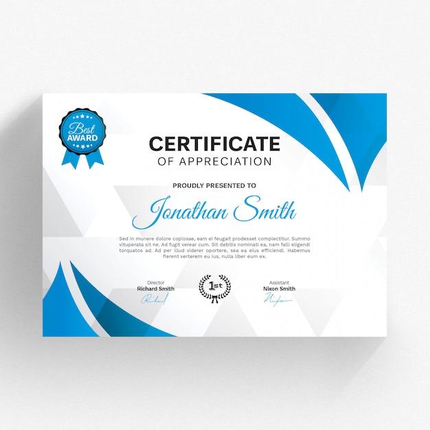 Nowoczesny szablon certyfikatu z niebieskimi szczegółami Premium Psd