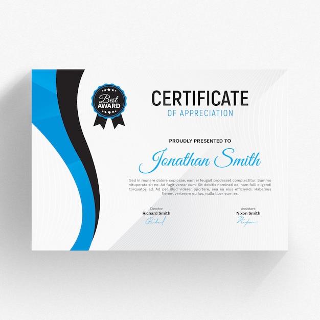 Nowoczesny szablon certyfikatu Premium Psd