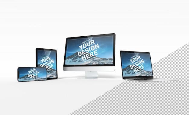 Nowożytni przyrząda z smartphone laptopem i pastylką wyrównującymi i odizolowywającymi na białym tło mockup Premium Psd