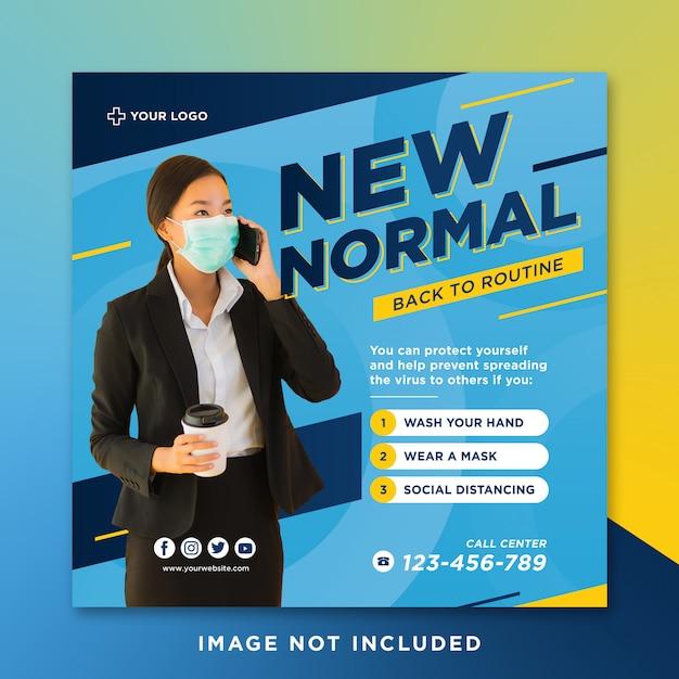 Nowy Normalny Powrót Do Rutynowego Pocztów Mediów Społecznych Premium Psd