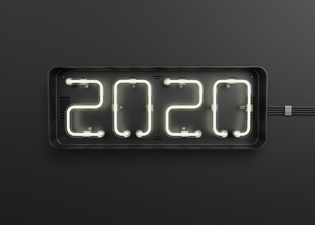 Nowy Rok 2020 Wykonany Ze światła Neonowego Premium Psd