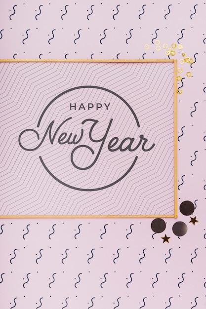 Nowy Rok Napis Na Minimalnej Złotej Ramie Darmowe Psd