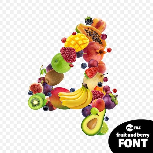 Numer cztery z owocami Premium Psd