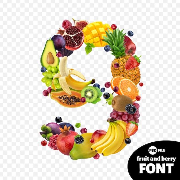 Numer dziewięć z owocami Premium Psd