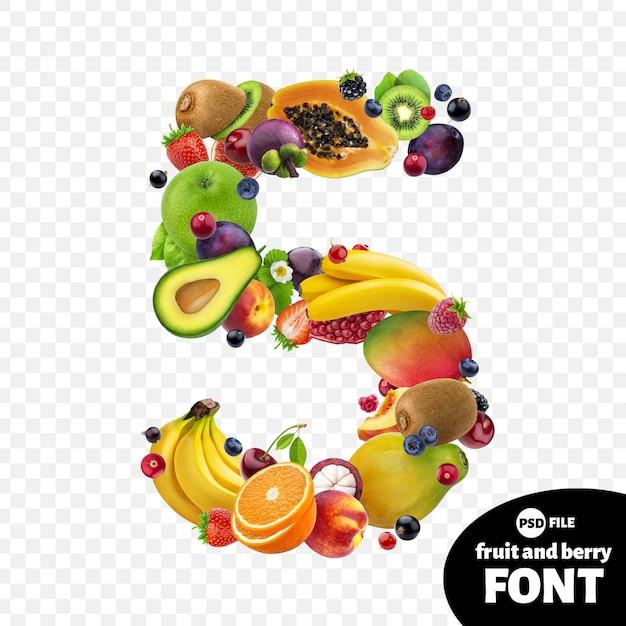 Numer pięć z owocami Premium Psd