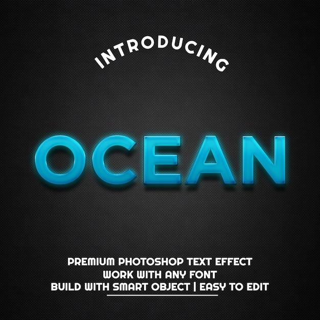Ocean - szablon efektu tekstowego Premium Psd