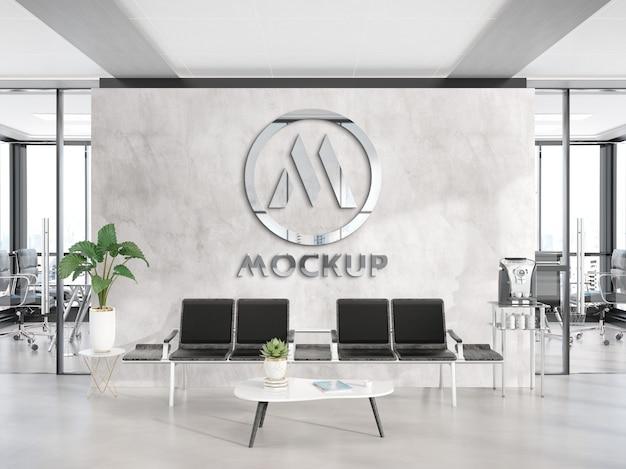 Odblaskowe Metalowe Logo Na ścianie Biura. Makieta Premium Psd