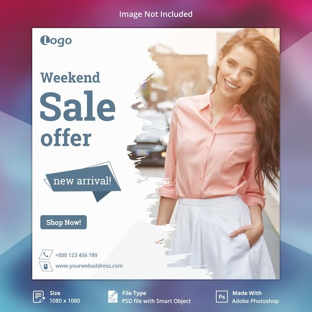 Oferta sprzedaży instagram post lub kwadratowy szablon banner Premium Psd