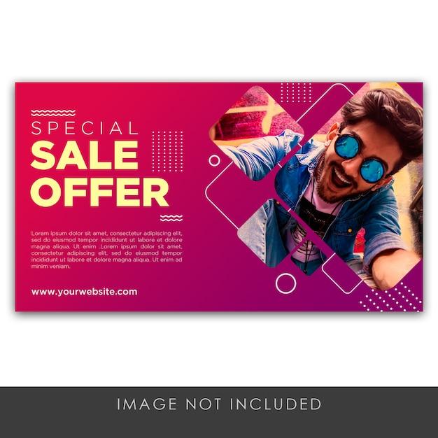 Oferta sprzedaży transparent szablon fioletowy Premium Psd