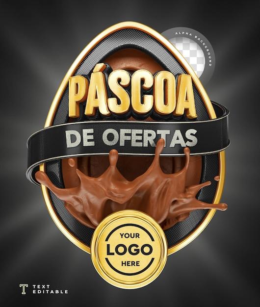 Oferty Wielkanocne W Brazylii Renderowania 3d Czekoladowy Czarny Premium Psd