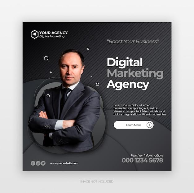 Ogólnospołeczni środki Wysyłają Sztandar Lub Kwadratową Ulotkę Z Cyfrowym Biznesowym Marketingowym Pojęciem Premium Psd