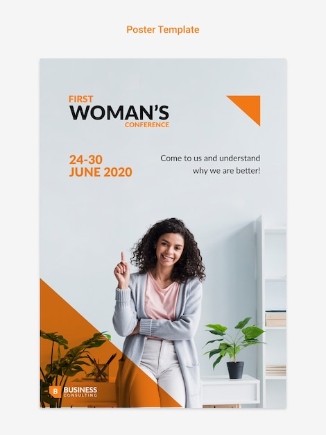 Online Ulotka Z Biznesowej Kobiety Pojęciem Darmowe Psd