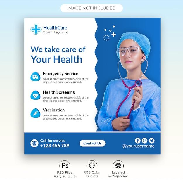 Opieka Medyczna Mediów Społecznościowych Szablon Postu Premium Psd