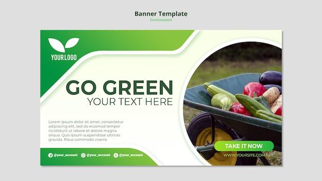 Organiczny Szablon Zielony Sztandar Darmowe Psd