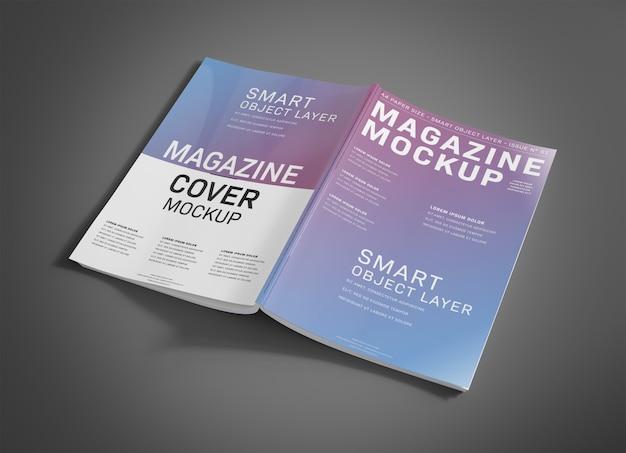 Otwórz okładkę magazynu na grey mockup Premium Psd