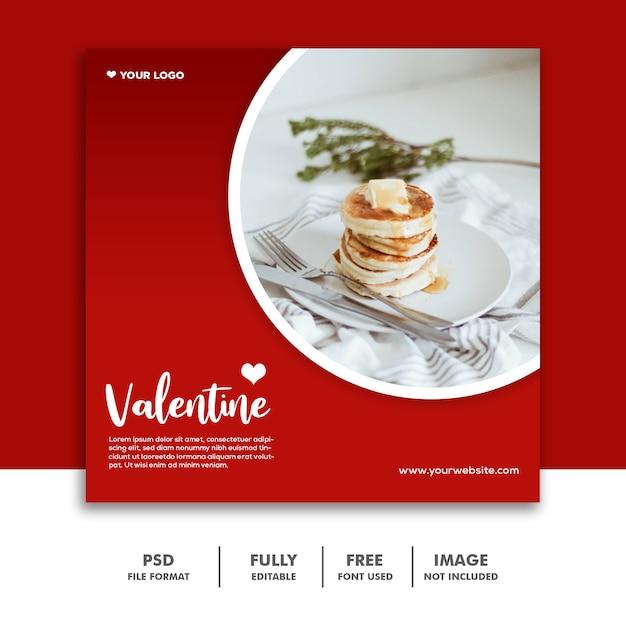 Pancake Red Instagram Social Media Post Valentine Premium Psd