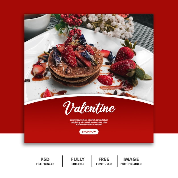 Pancake Strawberry Szablon Social Media Valentine Premium Psd