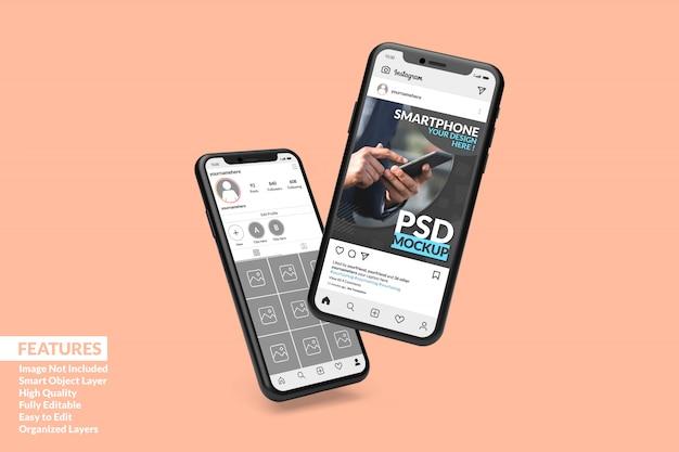 Personalizowana Makieta Wysokiej Jakości Dwóch Smartfonów, Aby Wyświetlić Szablon Posta Na Instagramie Premium Premium Psd