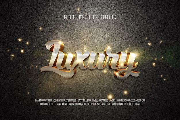 Photoshop 3d Efekty Tekstowe Luksus Premium Psd