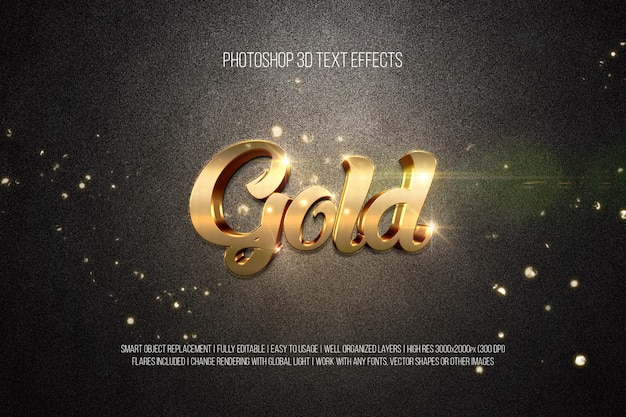 Photoshop 3d Efekty Tekstowe Złoto Premium Psd