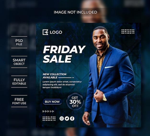 Piątek Sprzedaż Transparent Szablon Post Mediów Społecznościowych Premium Psd