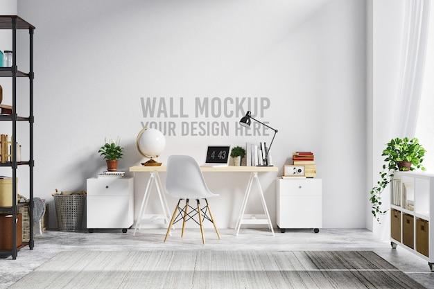 Piękna biała ściana makieta wnętrza obszaru roboczego w stylu skandynawskim Premium Psd