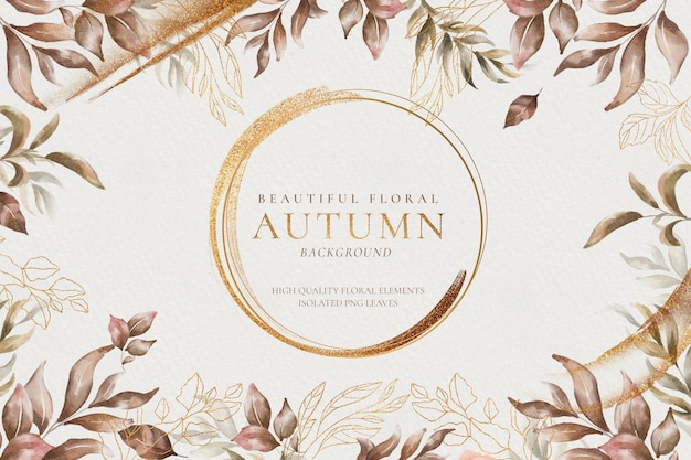 Piękna Jesień Kwiatowy Tło Ze Złotymi Liśćmi Darmowe Psd
