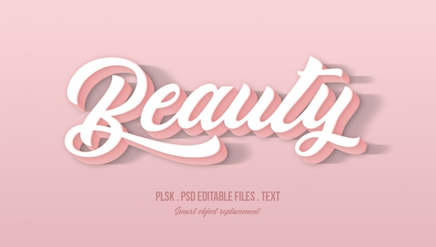 Piękno efektu stylu tekstu 3d Premium Psd