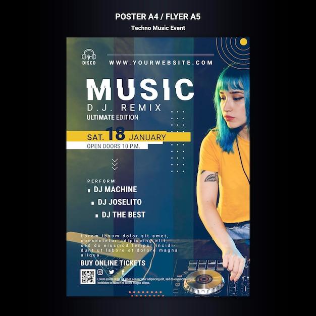 Pionowy Plakat Na Imprezę Z Muzyką Techno Darmowe Psd