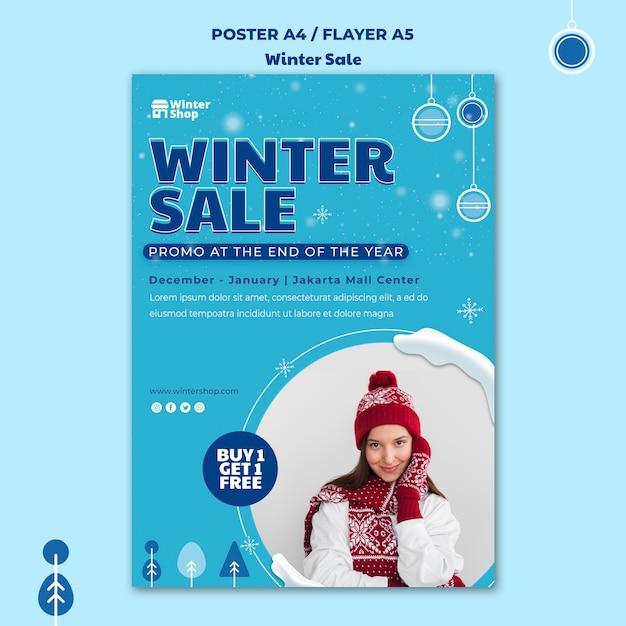 Pionowy Plakat Na Zimową Wyprzedaż Darmowe Psd