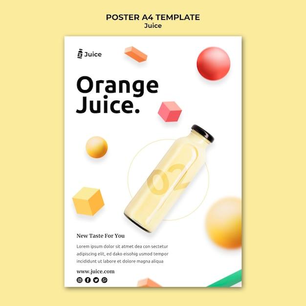 Pionowy Plakat Przedstawiający Sok Owocowy W Szklanej Butelce Darmowe Psd