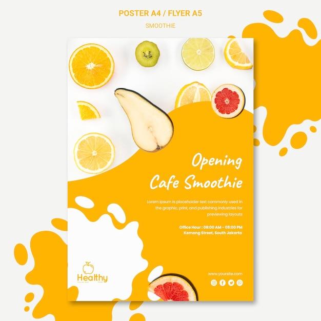 Pionowy Plakat Zdrowych Koktajli Owocowych Darmowe Psd