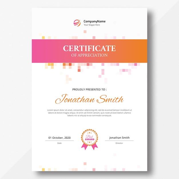 Pionowy szablon certyfikatu Premium Psd