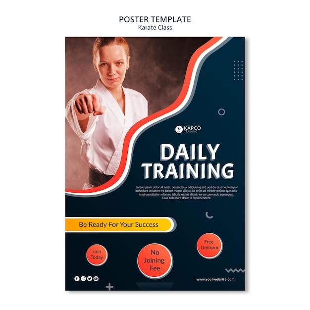 Pionowy Szablon Plakatu Dla Kobiet W Karate Darmowe Psd