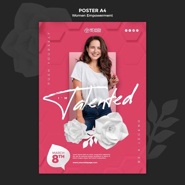Pionowy Szablon Plakatu Dla Wzmocnienia Pozycji Kobiet Z Zachęcającym Słowem Darmowe Psd
