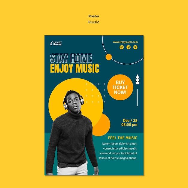 Pionowy Szablon Plakatu Do Słuchania Muzyki Darmowe Psd