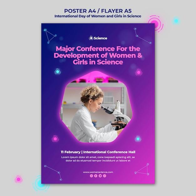 Pionowy Szablon Plakatu Na Dzień Międzynarodowy Kobiet I Dziewcząt W Obchodach Nauki Z Kobietą Naukowcem Darmowe Psd