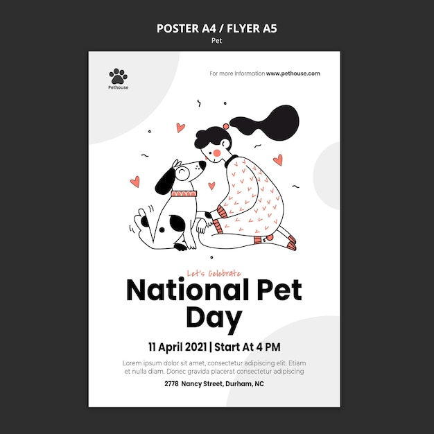 Pionowy Szablon Plakatu Na Narodowy Dzień Zwierzaka Z Właścicielką I Zwierzęciem Darmowe Psd