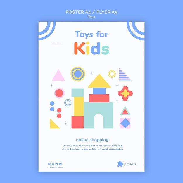 Pionowy Szablon Plakatu Na Zabawki Dla Dzieci Zakupy Online Premium Psd