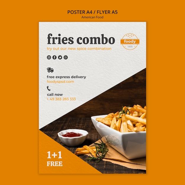Plakat Fast Food Combo Frytki Darmowe Psd