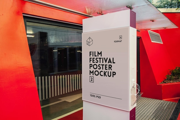 Plakat Festiwalu Filmowego Mock-up Premium Psd