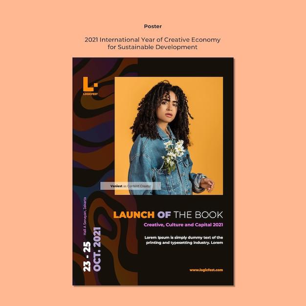 Plakat Międzynarodowego Roku Kreatywnej Gospodarki Na Rzecz Zrównoważonego Rozwoju Darmowe Psd