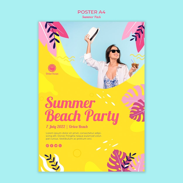 Plakat Na Letnie Przyjęcie Na Plaży Darmowe Psd